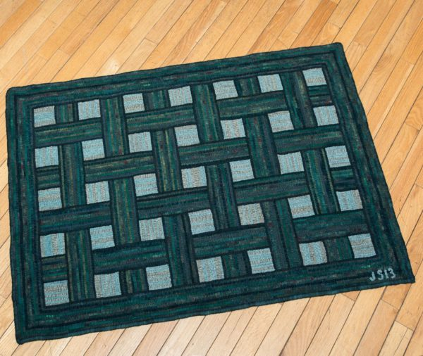 Green Hooked Basketweave Rug
