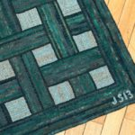 Green Basketweave Rug corner detail