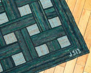 Green Basketweave Rug corner detail