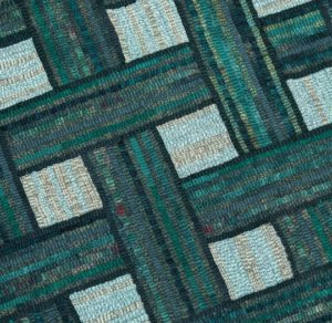 Green Hooked Basketweave Rug detail