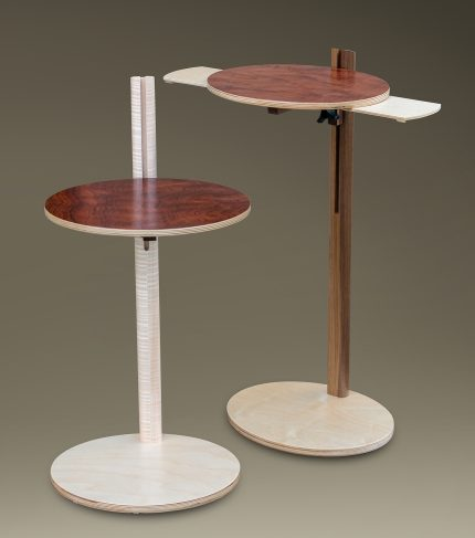 Adjustable Tablet Table with Hideaway Shelves Front