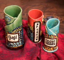 Cylinder Pressed Lace Vases - Grateful, Peace, In all things give thanks