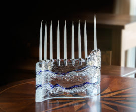 S Handcrafted Glass Menorah