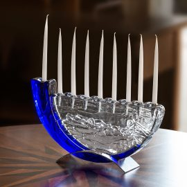 Shofar Blue Glass Menorah by Joel
