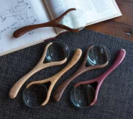 Modern & Elegant Carved Wood Magnifying Glass