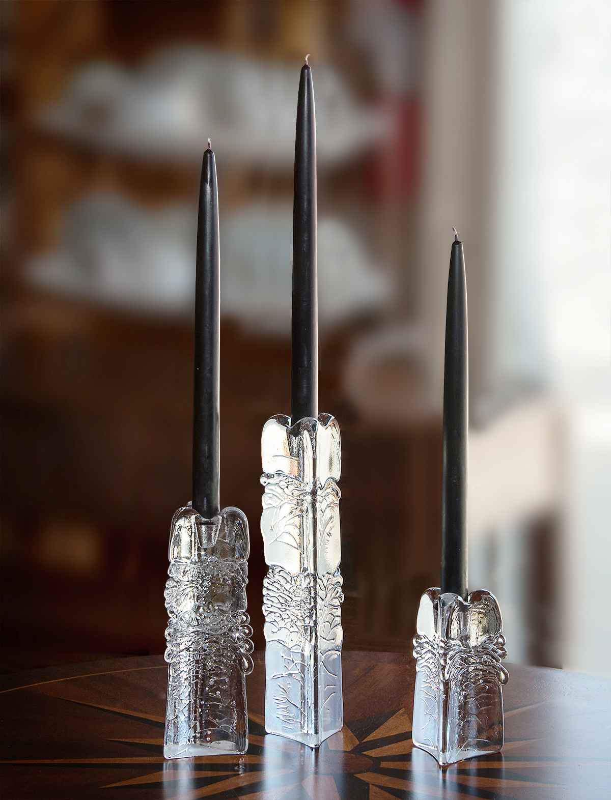 Three-Sided Organic Glass Candlestick