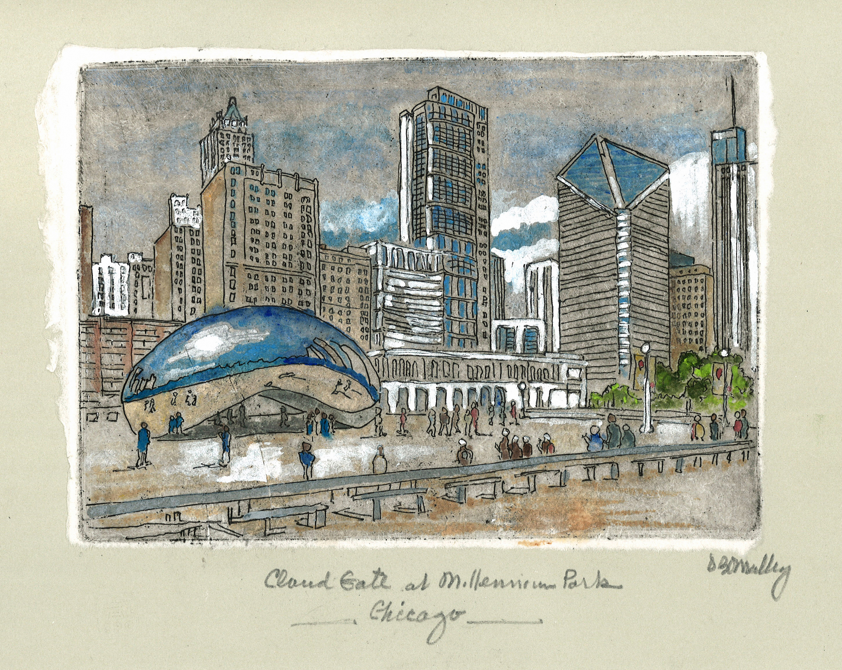 Cloud Gate at Millennium Park on Grey Paper (Plate 143)