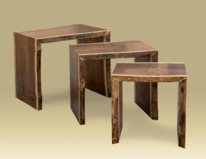 Walnut Nesting Table Set separated