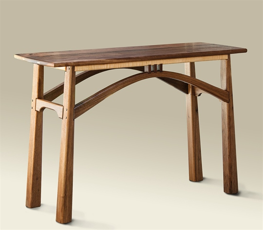 Arched Black Walnut Console Table