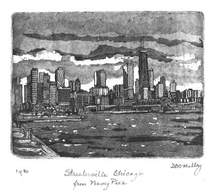 Chicago and Streeterville from Navy Pier B&W