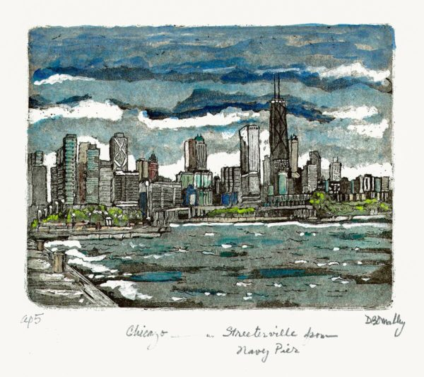 Chicago and Streeterville from Navy Pier Hand Painted