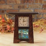 4x4 Tile Clock Dark Stained Oak