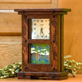 Stained Oak Greene & Greene Tile Clock