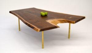 Live edge walnut coffee table brass legs - side
