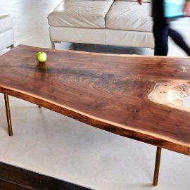 Live edge walnut coffee table brass legs