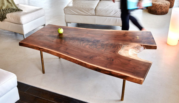 Live edge walnut coffee table brass legs