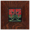 4x4 Petunia Tile in Red with Oak frame