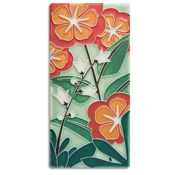 Green Starry Flowers Tile