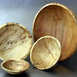 Round Spalted Ambrosia Bowls