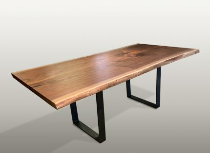 Black Walnut Live Edge Dining Table with Iron Legs