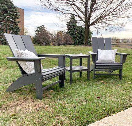 Modern Adirondacks and 2-Shelf Side Table Set