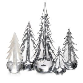 Simon Pearce Festive Evergreen Forest glass trees 9208