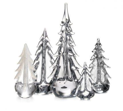 Simon Pearce Festive Evergreen Forest glass trees 9208