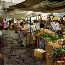 Covered Market Guanajuato Wood Jigsaw Puzzle by Clark Hulings