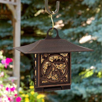 Oak leaf suet bird feeder bronze in garden