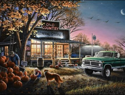 The Harvest Moon Wooden Jigsaw Puzzle by Chuck Black