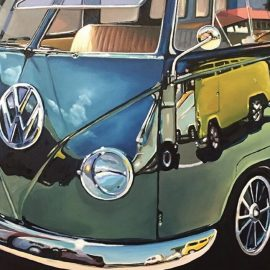 VW Bus Wooden Jigsaw Puzzle by Art McNaughton