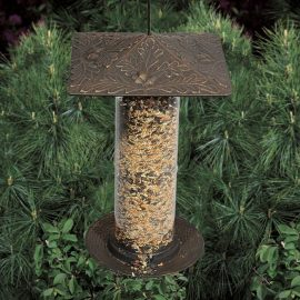 tall bird feeder oak leaf bronze finish