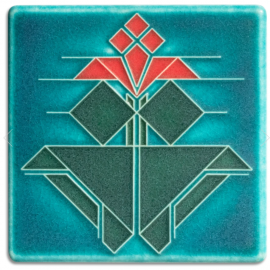 4x4 Avery Tulip Tile in Turquoise