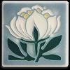 4x4 Peony Bloom Tile in Grey Blue