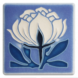 4x4 Peony Bloom Tile in Pale Blue