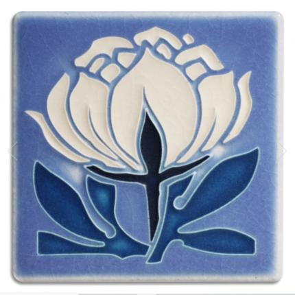 4x4 Peony Bloom Tile in Pale Blue