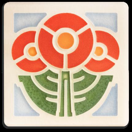 4x4 Round Flowers Tile in Orange
