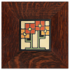 4x4 Square Flowers tile in Orange with Oak frame