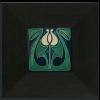 4x4 Tulip Bud tile in Indigo with Ebony frame