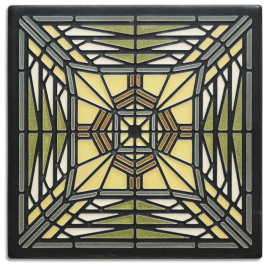 8x8 Prairie Butterfly Tile in Green