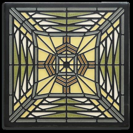 8x8 Prairie Butterfly Tile in Green
