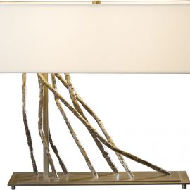 Brindille Table Lamp in Burnished Steel finish w Natural Anna Shade